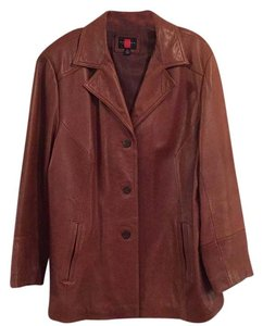 Gallery Woman Classic Leather Easy Button Brown Leather Jacket