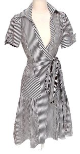 Brown & White Maxi Dress by Diane von Furstenberg Pinstripe Wrap