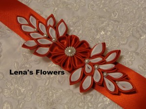 Satin Bridal Kanzashi Flower Sash. Red And White Handmade Just For Your Special Occasion.