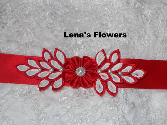 Red and White Satin Kanzashi Flower Handmade Just For Your Special Occasion. Sash