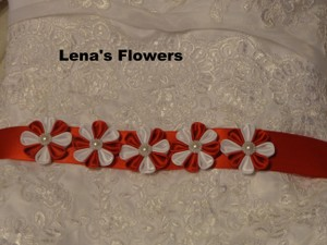 Red and White Satin Kanzashi Flower Handmade Just For Your Special Occasion. The Belt Is Made From 5 Sash