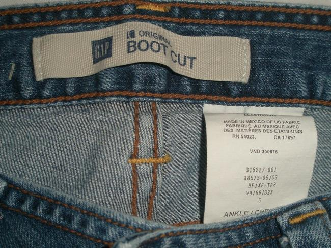 Gap Super Excellent Condition 5 Pocket Style Zip Fly Leg Opening Cotton/Spandex Whiskering Detail Boot Cut Jeans-Medium Wash