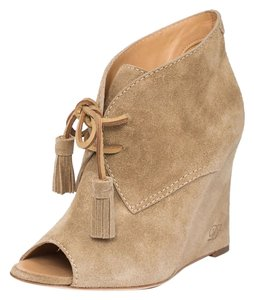 Dsquared2 Leather Suede Lace-up Beige Wedges