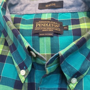 Pendleton Mens Plaid Cotton Madras Shirt Xl Extra Large Short Sleeve Button Down Shirt Seaside blues and greens