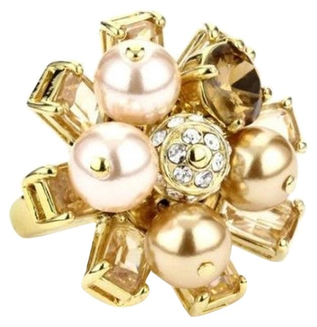 Item - Pearl & Crystal & 12k Gold Plate Rare First Blush Street Perfect Holiday Bling No Longer Available In Stores Ring
