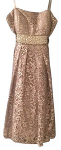 Oleg Cassini Cocktail Silver Sequins Beads Lace Overlay Dress