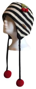 DeLux Black and White Stripe Cherry Wool Lined Pilot Hat