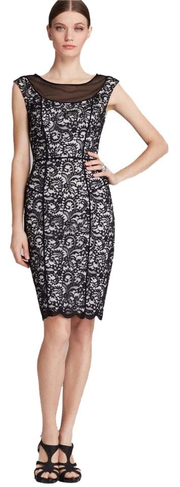Vera wang black illusion lace sheath above knee formal for How to ship a wedding dress usps