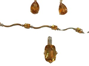 14K CITRINE AND DIAMONE :4 PIECE SET- PENDANT, BRACELET AND EARRINGS