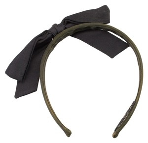 Chanel Chanel Women's Black & Green Silk Bow Headband (26285)