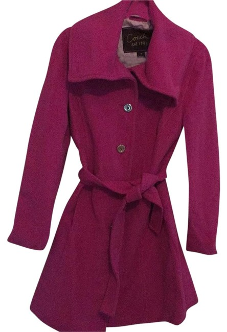 Preload https://img-static.tradesy.com/item/8982295/coach-pink-single-breasted-belted-coat-size-8-m-0-3-650-650.jpg