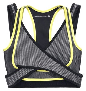 Alexander Wang X H&M GRAY AND YELLOW SPORTS BRA BUSTIER TOP NEW