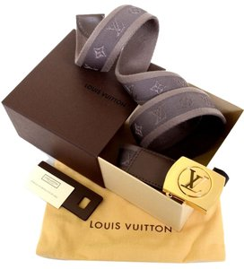 Louis Vuitton Authentic LOUIS VUITTON Monogram canvas 90 size Belt M9864