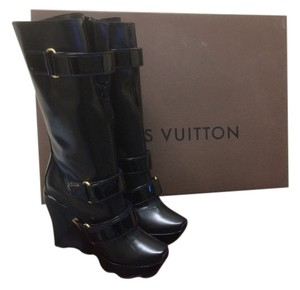 Louis Vuitton 37.5 Wedge Runway Leather Velcro Zip Winter Black Boots