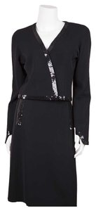 Chanel Chanel Black Sequin Trim Skirt Suit