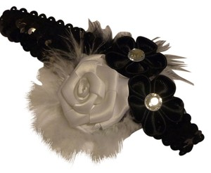 Other Handmade black and white sequins headband with 2 small black flower and one white rose. Hair accessories