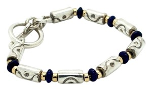 Movado Movado Sterling Silver 18K Gold Blue Bead Barrel Chain Toggle Bracelet 7
