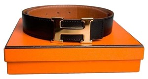 Hermès Hermes Leather Reversible Belt with H Buckle
