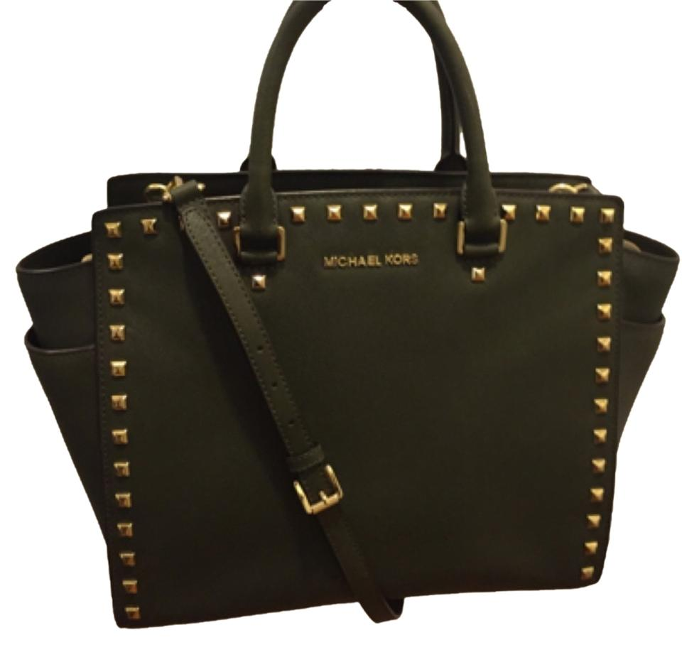 Michael Kors Studded Selma Saffiano Leather Satchel In Loden