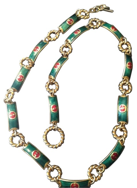 Item - Gold Green Red Cloisonne Chain Belt / Necklace