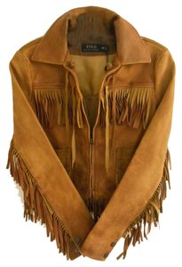 Polo Ralph Lauren Fringe Leather Zip Front Boho Bohemian Fringe camel brown Leather Jacket