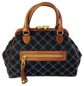 Marc Jacobs Mini Stam Denim Quilted Satchel in blue