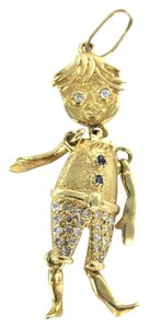 Other 14KT KARAT SOLID YELLOW GOLD PENDANT 29 DIAMONDS BOY MOTHERS DAY CHARM MOVEABLE