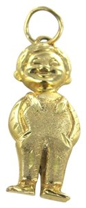 14KT KARAT YELLOW GOLD PENDANT BOY IN OVERALL CHILD MOTHERS DAY CHARM FINE JEWEL