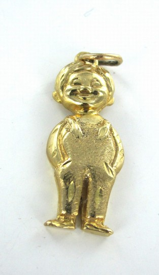 Other 14KT KARAT YELLOW GOLD PENDANT BOY IN OVERALL CHILD MOTHERS DAY CHARM FINE JEWEL