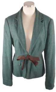 Lilly Pulitzer Turquoise Green Front Tie Tweed Turquoise blue Blazer
