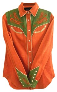 Polo Ralph Lauren Western Shirts Leather Shirts Top Orange