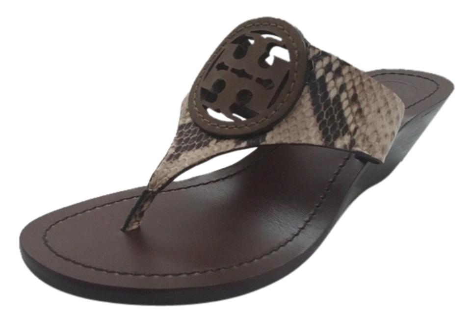 bdc9cadffb4 Tory Burch Louisa Snakeskin-embossed Leather Thong Wedge Sandals ...