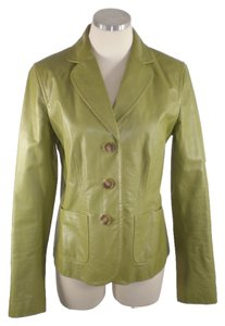 Ann Taylor Leather Green Leather Jacket