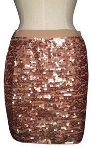 BCBGMAXAZRIA Sequin Glam Red Carpet Glitz Glitter Sparkle Mini Skirt Rose Gold