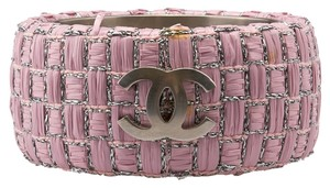 Chanel Chanel Pink Woven Raffia Wide Bangle Bracelet (61424)