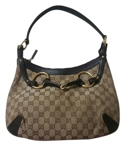 Gucci Leather Horsebit Gg Canvas Hobo Bag