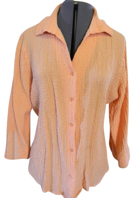 Christopher & Banks 3/4 Sleeve Size Xl Buttonup Collar Button Down Shirt Apricot