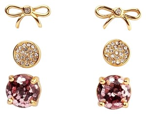 Kate Spade NEW Kate Spade New York 3 Pairs Earring Set Rose Gold Glitter Studs & Dainty Bows Earrings
