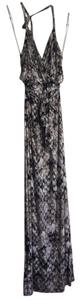 Black, White, Grey Maxi Dress by Fluxus Snake Python Halter