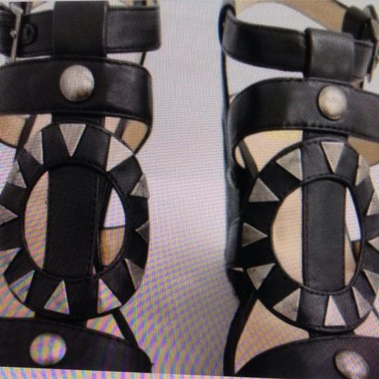 House of Harlow 1960 Wedge Rope Studded Black Platforms