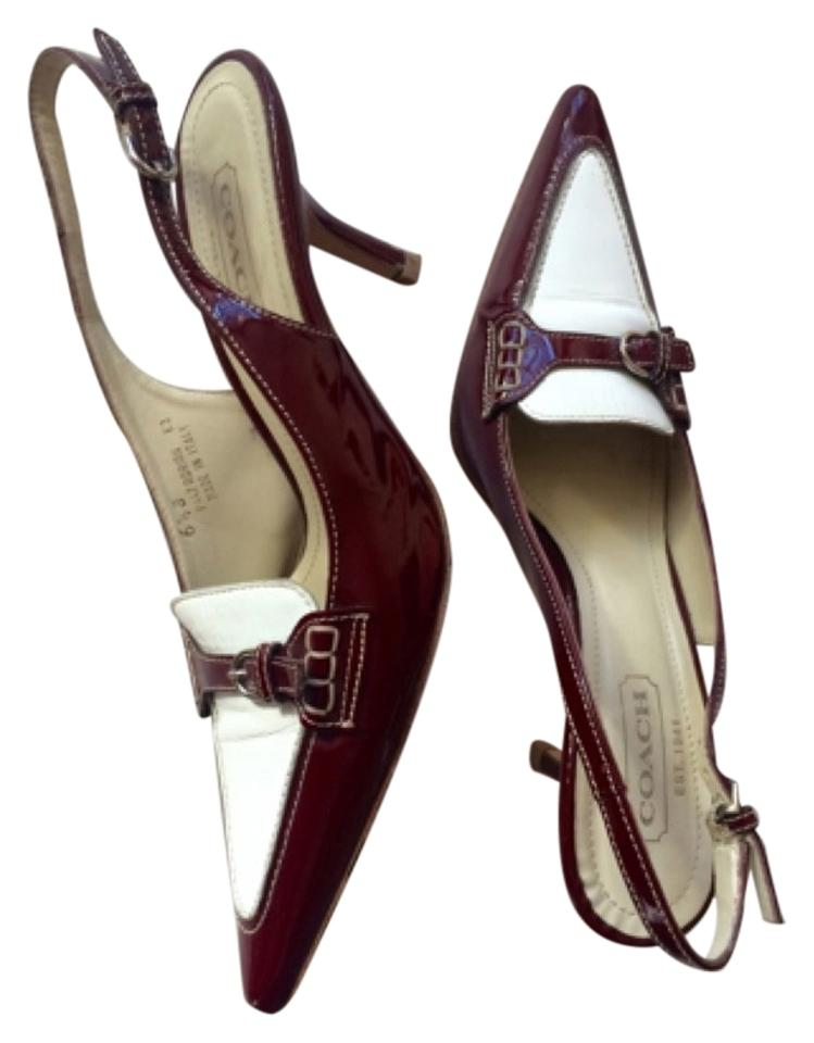 27cbad058af Coach White & Red Leather Slingback Heels Burgundy Patent Leather 6 1/2  Pumps Size US 6.5 Regular (M, B)