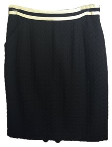 MILLY Embroidered Grosgrain Skirt Black