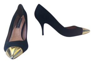 Steven by Steve Madden Black Suede w/Gold Toe Cap Pumps