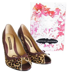 Chinese Laundry Studded Animal Print, Brown Wedges