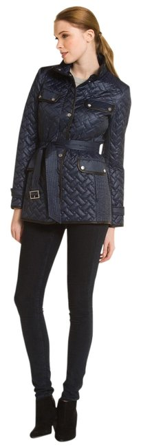 Item - Navy Belted Leather Trim Quilted Jacket Coat Size 8 (M)