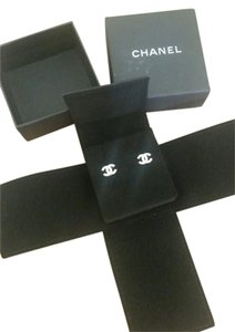 Chanel CHANEL Mini Classic CC Silver Crystal Earrings