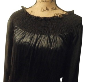 Band of Gypsies Size Large Bohemian Sheer Festival V Neck Urban Outfitters Nordstrom Top BLACK