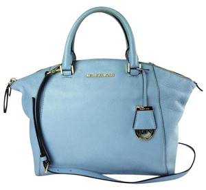 MICHAEL Michael Kors Riley Leather Satchel in Pale Blue