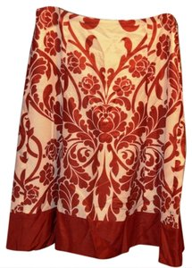 Ann Taylor Skirt Red & Cream Damask Print