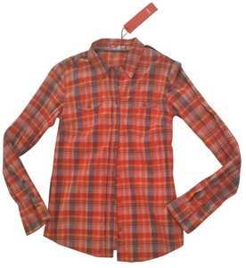 Esprit Plaids Top Multi Orange